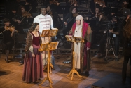 "Arya Daire as ""Belle, Kyle Scatliffe as ""The Ghost Of Christmas Past"" and Scrooge."